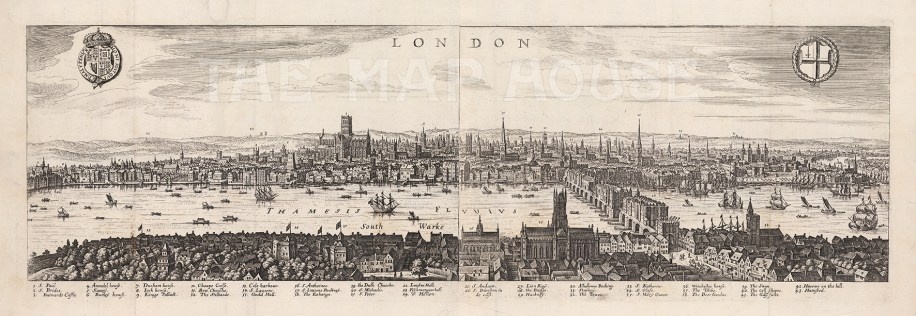 Panorama based on earlier engravings by Visscher (1616) and Norden (1600), much of the detail pertains to London at the turn of the century and provides a fascinating record of London prior to the Great Fire of 1666.