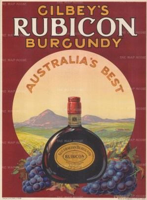 """McCorquodale: Gilbey's Rubicon Burgundy. c.1930. An original vintage chromolithograph. 15"""" x 20"""". [POSTERp170]"""
