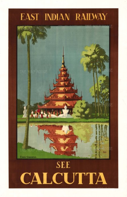 Calcutta: East Indian Railway. Promotional poster showing the Burmese pagoda in Eden Gardens. By Desmond Doig.