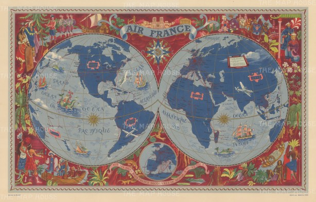 Sur les Ailes d'Air France: Promotional poster with double hemisphere map of the world highlighting air routes and surrounded with illustrations of European explorers in the Americas, Africa, and Asia. By Lucien Boucher.