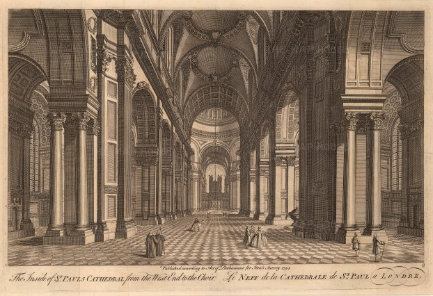 Stow: St Paul's Cathedral. 1754. An original antique copper-engraving. 16 x 12 inches [LDNp8538]