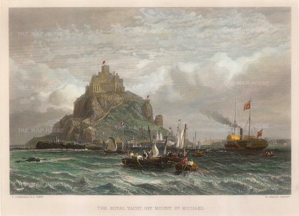 "Wallis: Mont Saint-Michel. c1830. A hand coloured original antique steel engraving. 10"" x 8"". [FRp1428]"