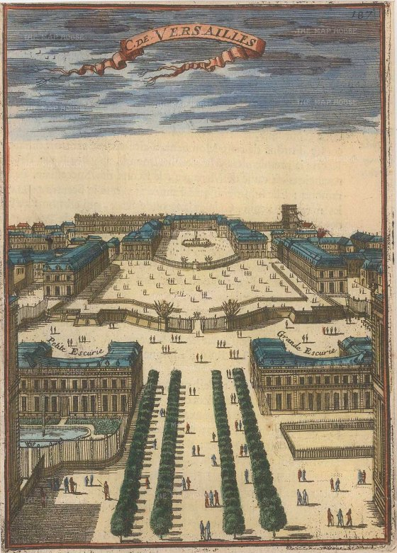 "Mallet: Versailles. 1686. A hand coloured original antique copper engraving. 4"" x 6"". [FRp1486]"