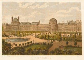 "Kronheim: Tuileries Palace. c1870. An original antique chromolithograph. 8"" x 6"". [FRp1626]"
