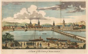 "Anonymous: Dresden. 1760. A hand coloured original antique copper engraving. 10"" x 6"". [GERp1131]"