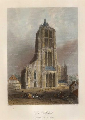 "Bartlett: Ulm. 1845. A hand coloured original antique steel engraving. 5"" x 7"". [GERp1260]"