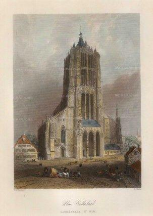 "Bartlett: Ulm. 1845. A hand coloured original antique steel engraving. 5"" x 7"". [GERp1260]"