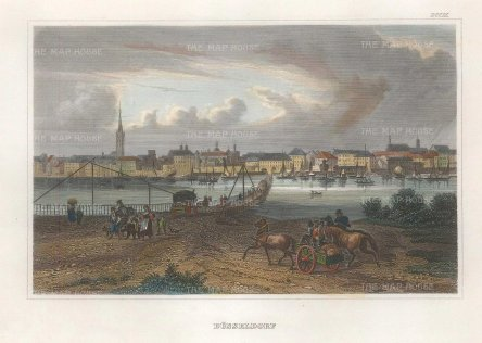 "Meyer: Dusseldorf. 1837. A hand coloured original antique steel engraving. 6"" x 4"". [GERp1265]"