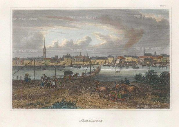 "Meyer: Düsseldorf. 1837. A hand coloured original antique steel engraving. 6"" x 4"". [GERp1265]"