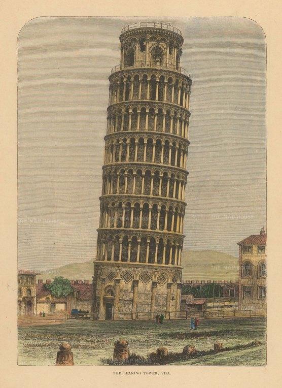 "Reclus: Pisa. 1894. A hand coloured original antique wood engraving. 7"" x 10"". [ITp2228]"