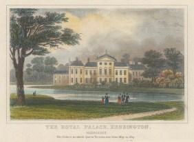 "Dugdale: Kensington Palace. 1829. A hand coloured original antique steel engraving. 4"" x 3"". [LDNp10466]"
