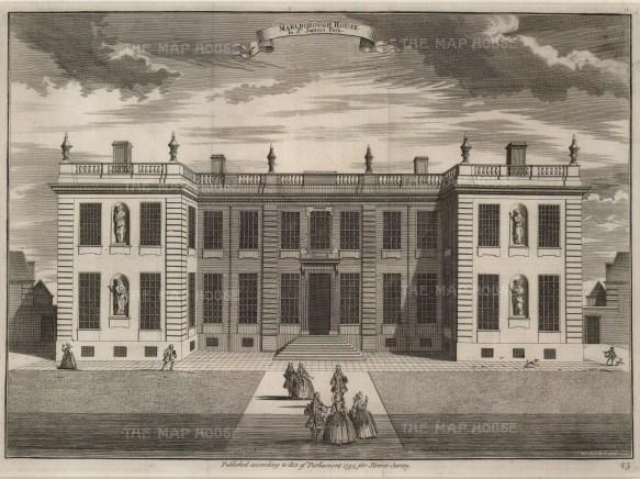 "Stow: Marlborough House. 1754. An original antique copper engraving. 18"" x 14"". [LDNp7111]"