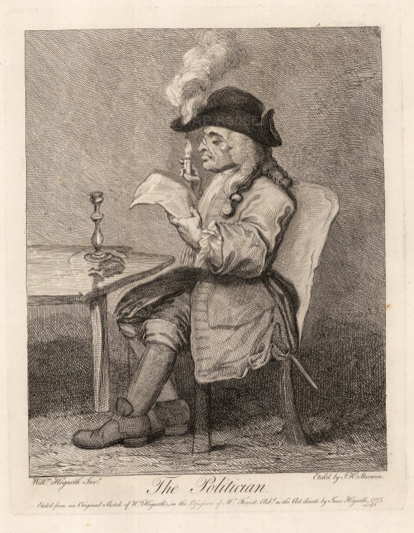 The Politician: Originally executed for Ebenezer Forrest (d. 1783). A politician sits at a table so engrossed with his newspaper he fails to notice that his hat has caught fire.