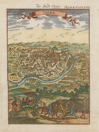 "Mallet: Cairo. 1719. A hand coloured original antique copper engraving. 5"" x 7"". [EGYp1067]"