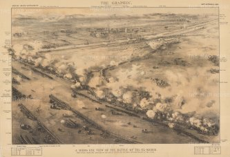 Battle of Tel El Kebir: Bird's Eye view of General Wolseley's victory over the Arabi Pasha's Egyptian forces. With key.