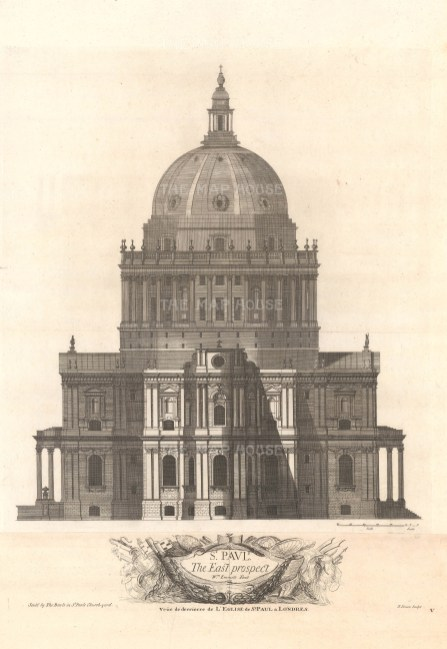 """Bowles: St. Paul's Cathedral. 1732. An original antique copper engraving. 18"""" x 27"""". [LDNp10315]"""
