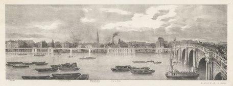 Blackfriars. Thames view from Temple Gardens to Blackfriars Bridge