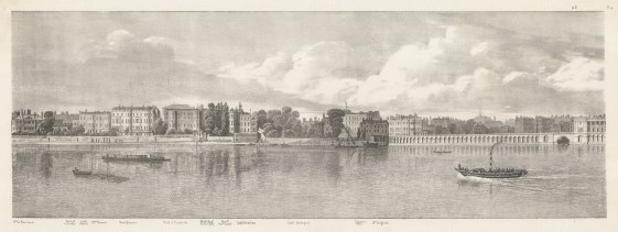 Whitehall: Thames view from Montague House (British Museum) to Middle Scotland Yard.