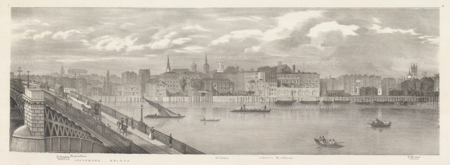 Southwark Bridge: Thames view from Mansion House to St Michael Cornhill.