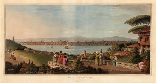 """Mayer: Istanbul. 1809. An original colour antique aquatint. 21"""" x 10"""". [TKYp295]"""