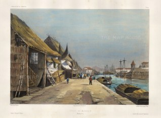 Manila Harbour. View in the dockyards. After Theodore-Auguste Fisquet, artist on the voyage of La Bonite 1836-7.