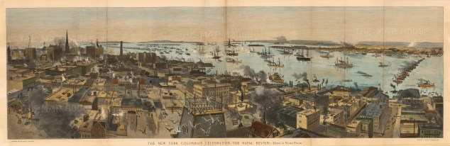 "Harpers: New York City, New York. 1892. An original colour antique wood engraving. 43"" x 14"". [USAp3819]"