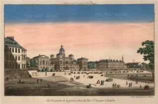 """Vue D'Optique: St. James's Park. c.1760. An original hand coloured antique copper engraving. 10"""" x 16"""". [LDNp9707]"""