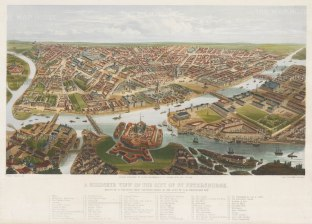 Bird's Eye view from St Alexander Nevsky Monastry to the Institute of Mines and including the fortress. With key.