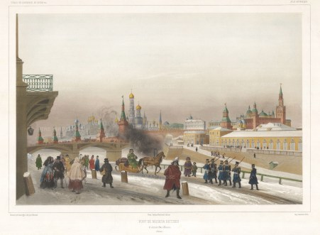 Kremlin from the Moskvoretsky Bridge. Panoramic view from the bridge built in 1829. Lauvergne was draughtsman to the 1839 Northern Scientific Commission.