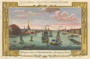 "Millar: St. Petersburg, Russia. 1782. A hand coloured original antique copper engraving. 12"" x 8"". [RUSp764]"