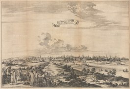 Scarce panorama looking over the Volkhov River towards the Great Bridge and Detinets (Novgorod Kremlin) in c1665. Engraved by Nicholas Witsen.