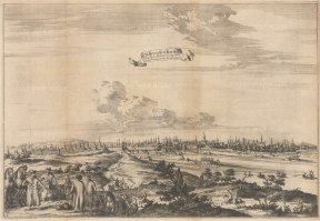 Scarce: Panorama looking over the Volkhov River towards the Great Bridge and Detinets (Novgorod Kremlin) in c1665. Engraved by Nicholas Witsen.