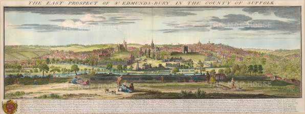 "Buck: Bury St. Edmunds, Suffolk. 1741. A hand coloured original antique copper engraving. 31"" x 11"". [ENGp202]"