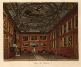 Queen's State Bedchamber with the ceiling by Verrio of Diana and Endymion, and Diana and Jupiter by John Rigaud.
