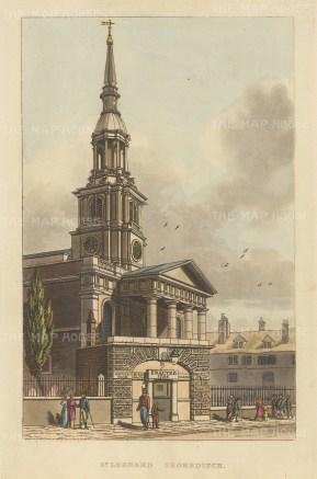 "Papworth: St. Leonard's Shoreditch.1816. An original colour antique aquatint. 6"" x 8"". [LDNp2774]"