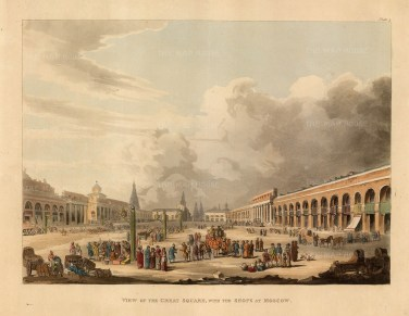 Great Square. View of the famous shopping square before the fire of 1812. Paul I considered this the most beautiful of de la Barthe's series, Entrance into Moscow from Volodemer: View of the relatively new gate at the eastern entrance from Vladimer with the city in the distance. After Guerard de la Barthe.