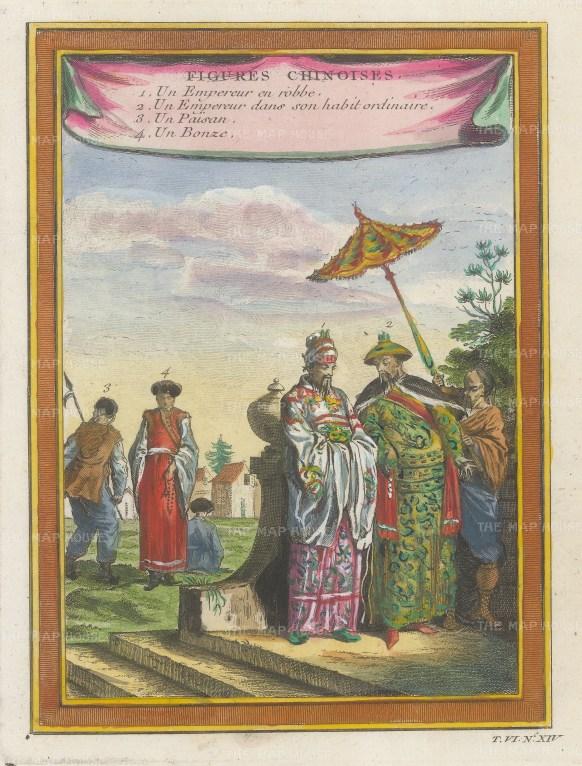Emperor in ceremonial attire, ordinary attire, and a farmhand and a monk.