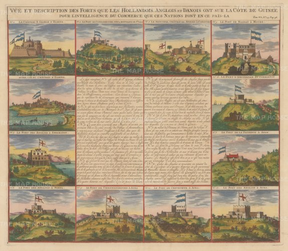 Congo: Twelve views of Dutch, English and Danish Forts. With explanatory text in French.