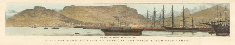 "Graphic Magazine: Cape Town. 1881. A hand coloured original antique wood engraving. 21"" x 4 "". [AFRp1374]"