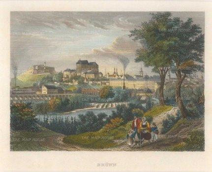"Meyer: Brno, Czech Republic. c1830. A hand coloured original antique steel engraving. 7"" x 6"". [CEUp389]"