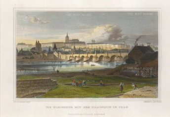 """Lange: Prague, Czech Republic. c1830. A hand coloured original antique steel engraving. 8"""" x 6"""". [CEUp484]"""