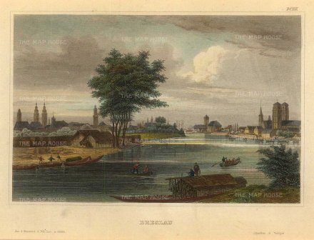 "Meyer: Wrocław, Poland. 1839. A hand coloured original antique steel engraving. 6"" x 5"". [CEUp517]"