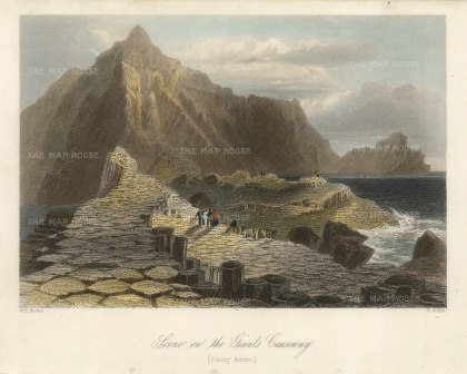 "Bartlett: Giant's Causeway. 1841. A hand coloured original antique steel engraving. 8"" x 6"". [IREp681]"