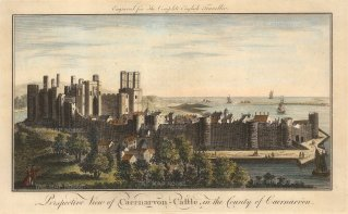 "The English Traveller: Caernarvon Castle. 1773. A hand coloured original antique copper engraving.12"" x 8"". [WCTSp435]"