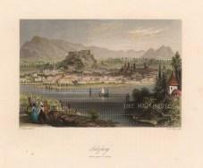 "Bartlett: Salzburg, Austria. c1840. A hand coloured original antique steel engraving. 8"" x 7"". [AUTp226]"