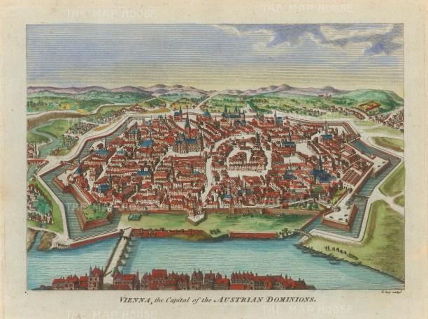 """Hogg: Vienna. 1793. A hand coloured original antique copper engraving. 6"""" x 5"""". [AUTp238]"""