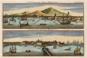 Java: Batavia (Jakarta). Double panorama of the town from the Bay, and of the citadel built by the Dutch in 1619.