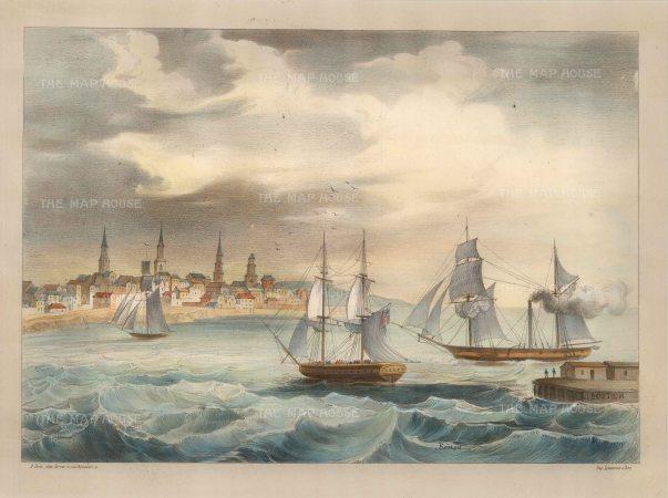 Lemercier: Boston, Massachusetts. 1850. A hand-coloured original antique lithograph. 15 x 11 inches. [USAp2983]