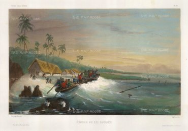 Hawaii: Boat grounding off the coast by a village. After Barthelemy Lauvergne, artist on the voyage of La Bonite 1836-7.