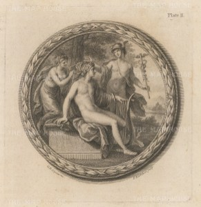 Mercury and Apollo with decorative frame.